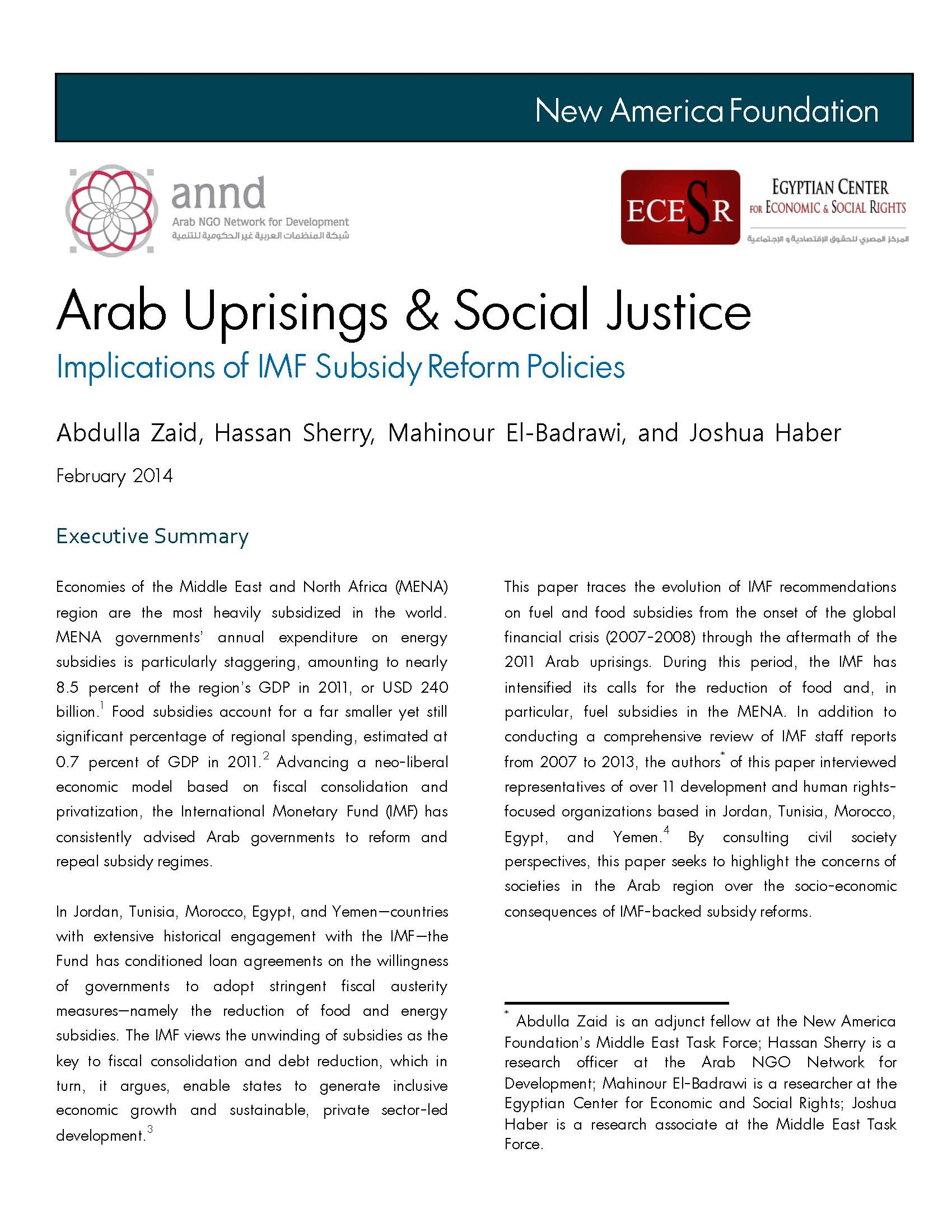 Arab uprisings and Social Justice, implications of IMF subsidy reform policies